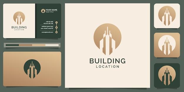 Le logo du bâtiment créatif combine le symbole de la broche d'emplacement, l'or, le constructeur, le point, l'élément de conception et le modèle de carte de visite. vecteur premium