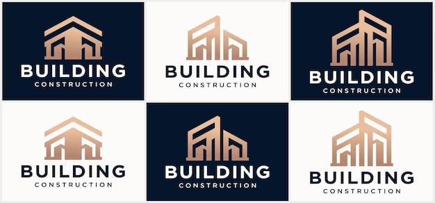 Logo du bâtiment icône du logo de l'industrie des travaux de construction de l'immobilier moderne entrepreneur de logement
