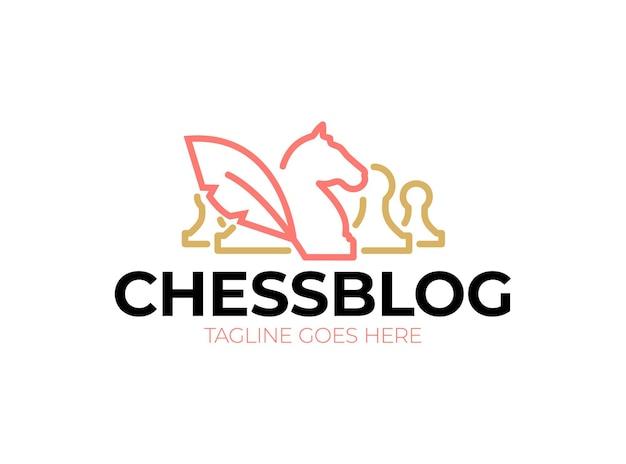 Logo du blog d'échecs. icône vintage chevaliers et pions