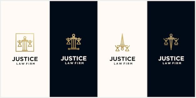 Logo du cabinet d'avocats de la justice avec couleur or, cabinet, droit, justice