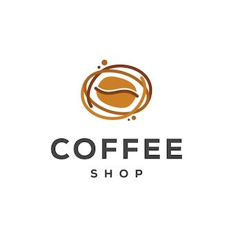 Le logo du café conçoit le vecteur de concept, le modèle de conception de logo de grain de café