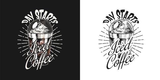 Logo du café et emblème tasse de boisson latte ou cappuccino ou espresso vintage rétro badge main