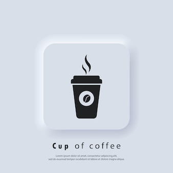 Logo du café. icône de tasse de café chaud. tasse en papier. icône de tasse de café jetable avec logo de haricots. vecteur. icône de l'interface utilisateur. bouton web de l'interface utilisateur blanc neumorphic ui ux.