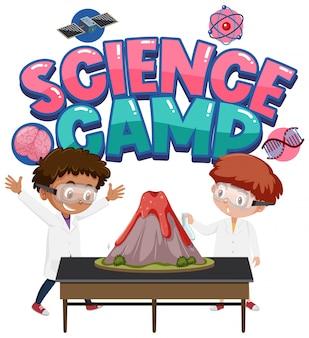 Logo du camp scientifique et enfants avec expérience scientifique du volcan