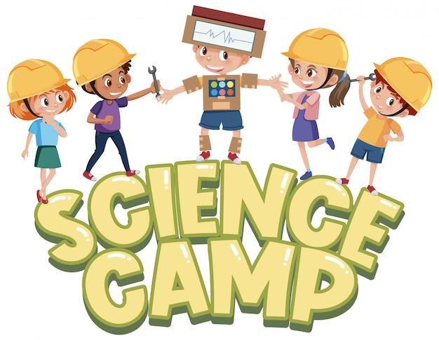 Logo du camp scientifique avec des enfants portant un chapeau d'ingénieur isolé
