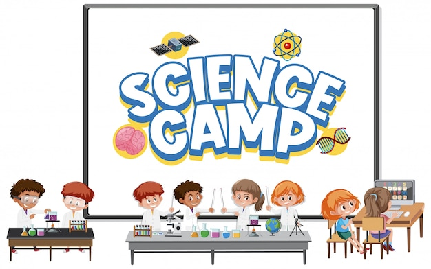Logo Du Camp Scientifique Avec Des Enfants Portant Le Costume De Scientifique Isolé Vecteur Premium