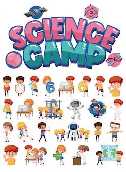Logo du camp scientifique et ensemble d'enfants avec des objets d'éducation isolés