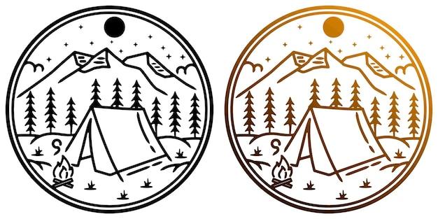 Logo du camp de tendance blanc de montagne