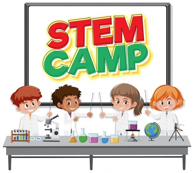 Logo du camp de tige avec des enfants portant un costume de scientifique isolé