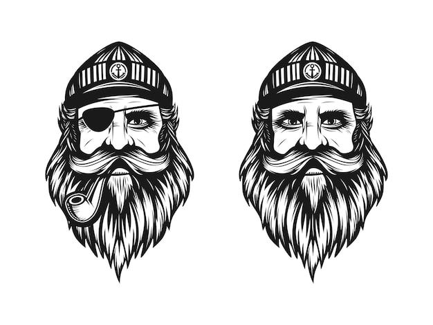 Logo du capitaine ou homme marin