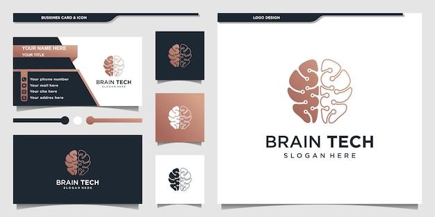Logo du cerveau avec la forme de l'art de la ligne de la technologie moderne et la conception de la carte de visite vecteur premium