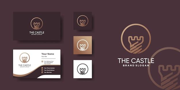 Logo du château avec concept d'art en ligne créatif et conception de carte de visite vecteur premium