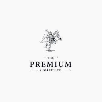 Logo du cheval de cavalier royal élégant et luxueux de luxe
