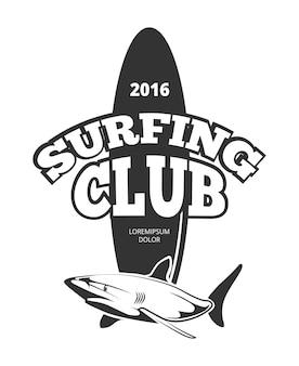 Logo du club de surf avec planche et requin