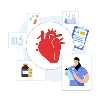Logo du coeur humain pour la clinique de cardiologie. rendez-vous cardiologue, traitement, aide patient.