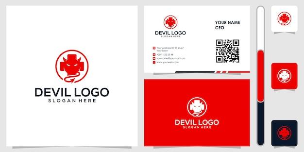 Logo du diable avec carte de visite design vecteur premium