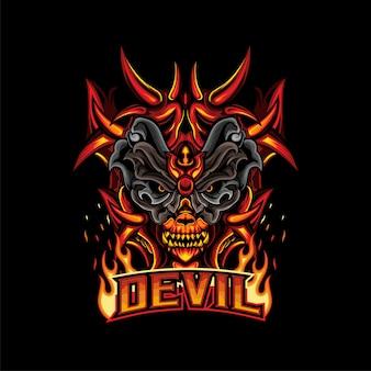 Logo du diable esports ou jeu de logo de mascotte