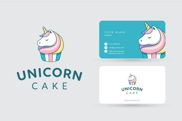 Logo du gâteau licorne et cartes de visite