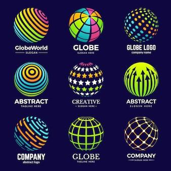 Logo du globe. formes de cercle stylisées pour les projets d'identité d'entreprise, modèles de logo d'innovation en biologie de l'éducation. logotype de globe stylisé de sphère pour l'illustration d'affaires