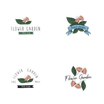 Logo du jardin de fleurs vintage