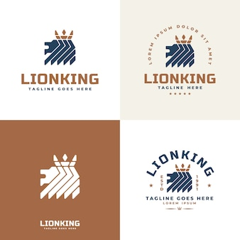 Logo du lion royal avec collection de couronnes