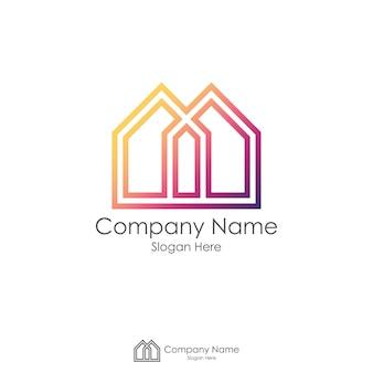 Logo du logo immobilier avec lettre initiale m ou x