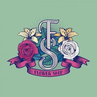 Logo du magasin de fleurs. modèle de signe de fleuriste