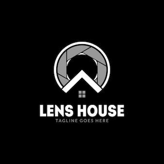 Logo du magasin d'objectifs d'appareil photo ou maison des objectifs