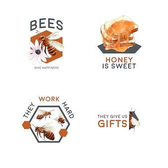 Logo avec du miel pour l'aquarelle de marque et marketing