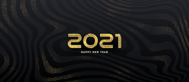 Logo du nouvel an. conception de voeux avec nombre d'or de l'année sur un fond noir abstrait.