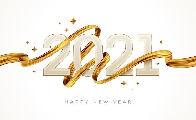 Logo du nouvel an avec coup de pinceau de peinture dorée