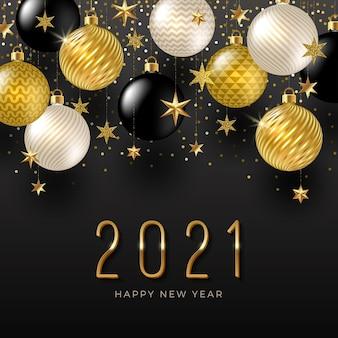 Logo du nouvel an avec des décorations de vacances. conception de voeux avec des boules dorées et des étoiles.