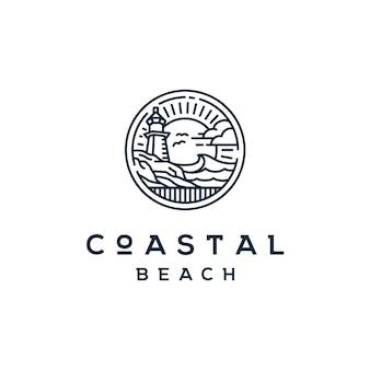 Logo du phare beacon vintage sur la plage côtière
