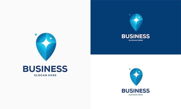 Le logo du point de service de nettoyage conçoit le vecteur de concept, l'icône de symbole de logo de pointeur et d'outil de nettoyage