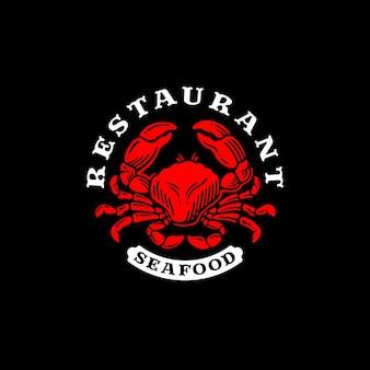 Logo du restaurant crabe rouge. restaurant de fruits de mer.