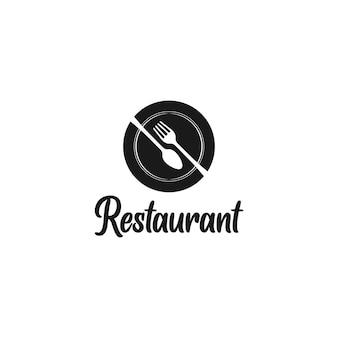 Logo du restaurant avec cuillère à fourchette et assiette