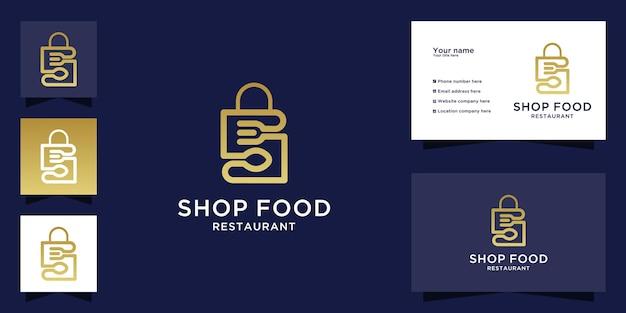 Logo du restaurant avec sac à provisions et design de vaisselle