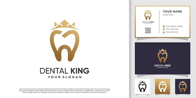 Logo du roi dentaire avec modèle de carte de visite vecteur premium