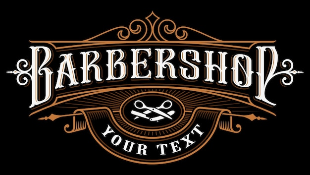 Logo du salon de coiffure. illustration de lettrage vintage sur fond sombre. tous les objets, le texte sont sur les groupes séparés.