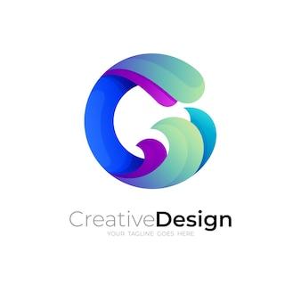 Logo du symbole g et combinaison de conception de vague