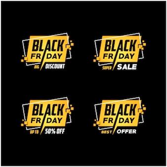 Logo du vendredi noir doré, autocollant promotionnel pour promotion de rabais