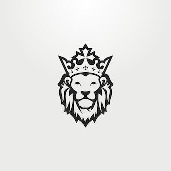 logo du visage de lion avec une illustration d'une couronne sur la tête.