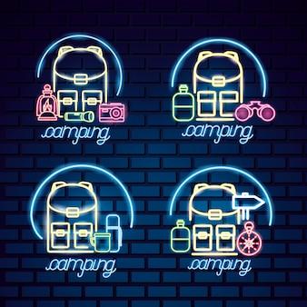 Logo du voyage en camping dans le style néon