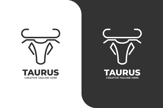 Logo du zodiaque taureau monoline
