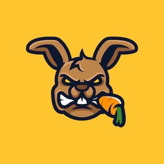 Logo e-sport tête de lapin isolé sur jaune
