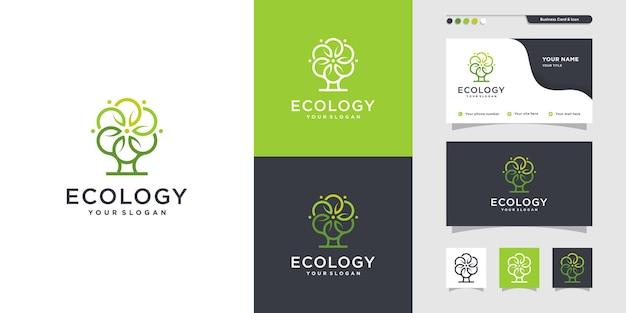 Logo d'écologie unique et conception de carte de visite icône de vie en vie de soins de santé vecteur premium