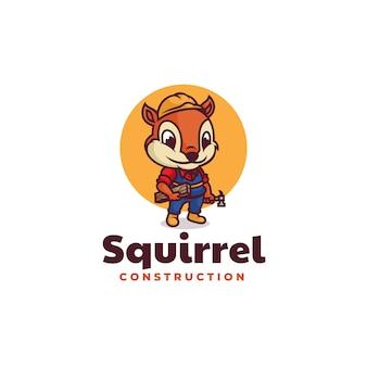 Logo écureuil construction mascotte dans style dessin animé