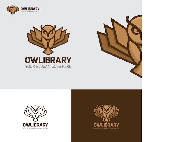 Logo de l'éducation de la bibliothèque d'oiseaux owl