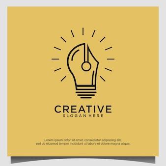 Logo d'éducation créative de crayon d'ampoule