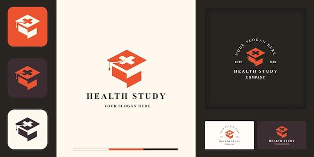 Logo d'éducation à la santé, chapeau de graduation et croix et carte de visite
